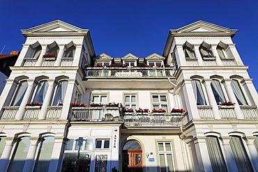 White Baeder style house, Villa Meeresblick, Bansin seaside resort, Usedom Island, Baltic Sea, Mecklenburg-Western Pomerania, Germany, Europe