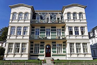 Renovated Baeder style house, holiday flats, Bergstr., Bansin seaside resort, Usedom Island, Baltic Sea, Mecklenburg-Western Pomerania, Germany, Europe