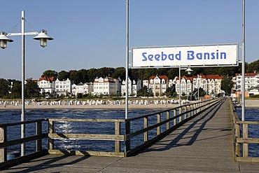 Bansin seaside resort, view from pier, Usedom Island, Baltic Sea, Mecklenburg-Western Pomerania, Germany, Europe