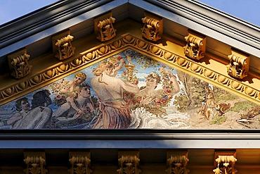 Villa Oechsler, gable mosaic, detail, Heringsdorf seaside resort, Usedom Island, Baltic Sea, Mecklenburg-Western Pomerania, Germany, Europe
