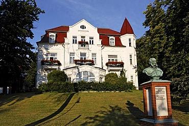 Villa Staudt, renovated, Beach Promenade Heringsdorf seaside resort, Usedom Island, Baltic Sea, Mecklenburg-Western Pomerania, Germany, Europe