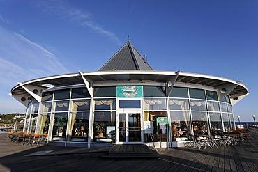 Modern glass pavilion, pier, Heringsdorf seaside resort, Usedom Island, Baltic Sea, Mecklenburg-Western Pomerania, Germany, Europe