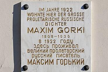 Maxim-Gorki memorial tablet, Villa Irmgard, Heringsdorf, Usedom Island, Baltic Sea, Mecklenburg-Western Pomerania, Germany, Europe