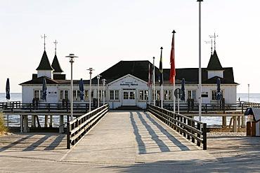Ahlbeck Pier, deserted, historic pavilion, Usedom Island, Baltic Sea, Mecklenburg-Western Pomerania, Germany, Europe