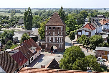 Anklam Gate, view from the tower of Marienkirche Church, Usedom town, Mecklenburg-Western Pomerania, Baltic Sea, Germany, Europe