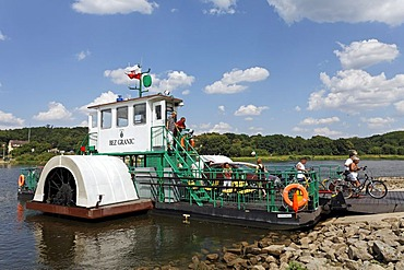 Cyclists leaving the Oder ferry, motorised paddlesteamer, border crossing, Guestebiese, Gozdowice, Neulewin, Oderbruch region, Maerkisch-Oderland district, Brandenburg, Germany, Europe