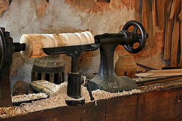 Historic wooden turning lathe