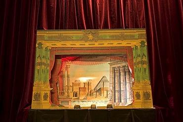 Proszenium arch of a paper theater, Castle Burg, Schloss Burg, Solingen, Bergisches Land, NRW, Germany