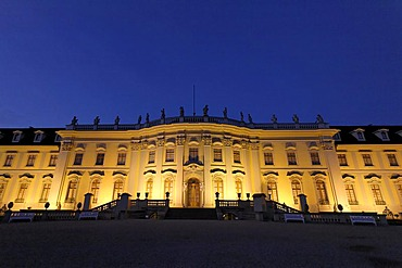 Baroque castle Ludwigsburg, illuminated front, garden view, Baden-Wuerttemberg, Germany