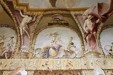 Grotesque ceiling fresco, triton room, Benedictine convent Altenburg near Horn, Lower Austria