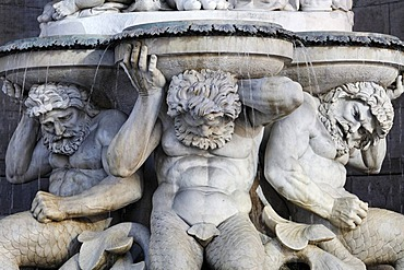 Three male caryatide of the Albertina fountain, Vienna, Austria