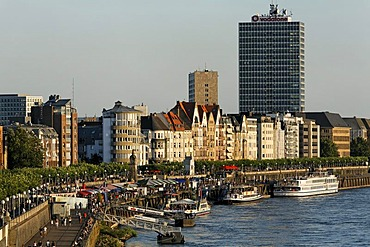 Cityscape Duesseldorf, banks of Rhine, NRW, Germany