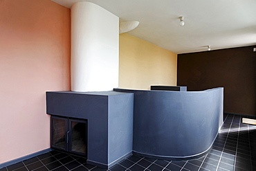 Library with fireplace, museum at the Corbusier house from 1927, Weissenhof Museum, Stuttgart, Baden-Wuerttemberg, Germany