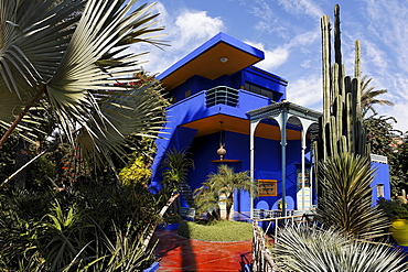 Shining blue mansion in the gardens of Jardin Majorelle, Marrakech, Morocco, Africa