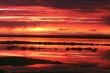 Sunset near Reykjanes, Iceland, Atlantic Ocean