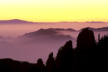 "Sunrise at ""Eighteen Arhats, "" Huangshan, Anhui, China, Asia"