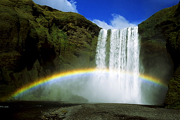 Rainbow over Skogafoss Waterfall, Iceland, Atlantic Ocean