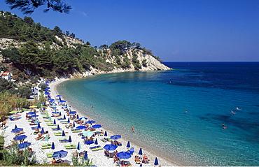 Tourists on Lemonakia Beach, Samos Island, Greece, Europe