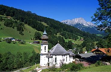 Maria Gern Church, pilgrimage site, Untersberg, Mt. Kneifelspitze, Berchtesgadener Land, Bavaria, Germany