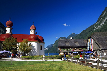 St. Bartholomew's Church, Koenigssee Lake, Berchtesgadener Land, Bavaria, Germany