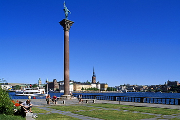 Column, city hall in background, Riddarholmen, Stockholm, Sweden, Scandinavia