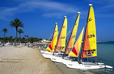 Catamarans on the beach, Club Med Djerba La Douce, Djerba, Tunisia, Africa