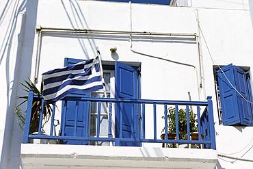 Balcony of a house, city of Mykonos, Mykonos, Cyclades, Greece, Europe