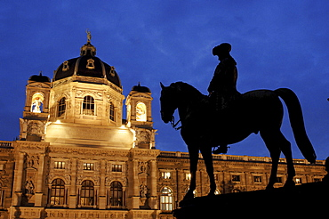 Equestrian statue in front of the Kunsthistorisches Museum (Museum of Art History) in Vienna, Austria
