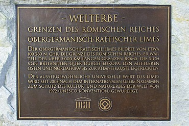 Commemorative plate reminding the acceptance of the limes being part of the UNESCO world heritage in the year 2005