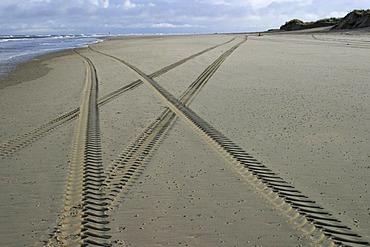 Crossing tire tracks, North Sea beach, Wangerooge, Lower Saxony, Germany