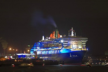 Illuminated Queen Mary 2 at Hamburg Harbour 2005 Germany