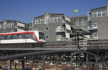 Subway passing the office building of Gruner and Jahr at Hamburg Harbour Germany
