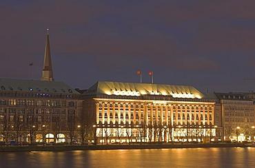 Head office of Hapag Lloyd at lake Binnenalster at night, Hamburg, Germany