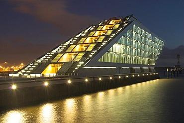 Modern office building Dockland at river Elbe at Hamburg Harbour at night, Hamburg, Germany