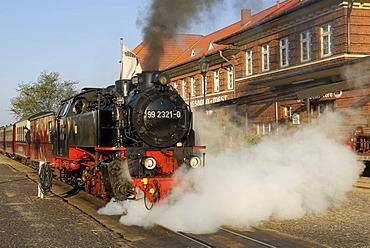 Historic steamer of narrow-gauge railway called Molli at railway station Kuehlungsborn West, Kuehlungsborn, Western Pomerania, Germany
