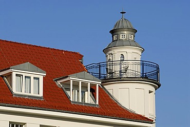 Typical local architecture - Detail of the residential building called Haus am Park in Kuehlungsborn, Western Pomerania, Germany