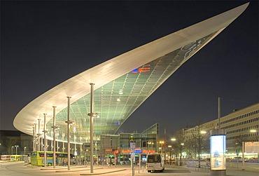 Central bus port ZOB in Hamburg at night, Hamburg, Germany