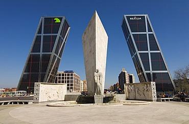 Jose Calvo Sotelo Memorial in front of the tilted towers of Puerta de Europa at Plaza de Castilla, Madrid, Spain