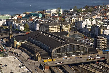 Arial view over central station Hamburger Hauptbahnhof and St. Georg district, Hamburg Germany