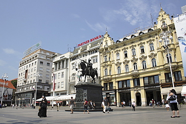 Ban Jelacic monument on Ban Jelacic Square, Zagreb, Croatia