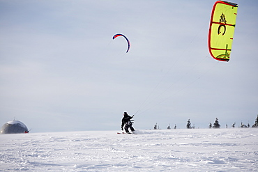 Snowkiting, kiteskiing, Mt. Wasserkruppe, Rhoen Mountains, Hesse, Germany, Europe