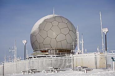 Radar dome (radome), Mt. Wasserkruppe, Rhoen Mountains, Hesse, Germany, Europe