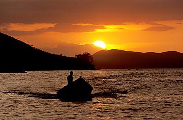 Fishing boat at sunset, Mochima National Park, Sucre, Venezuela, Caribbean