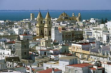 San Antonio Church, view from Torre Tavira (Tavira Tower), Cadiz, Costa de la Luz, Cadiz Province, Andalusia, Spain