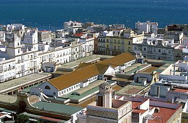 Mercado Central (Central Market), indoor marketplace, view from Torre Tavira (Tavira Tower), Cadiz, Costa de la Luz, Cadiz Province, Andalusia, Spain