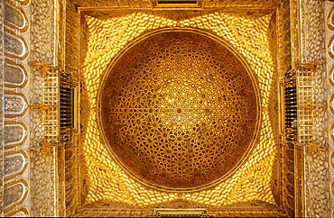 Vault ceiling in Alcazar, Seville Province, Andalusia, Spain