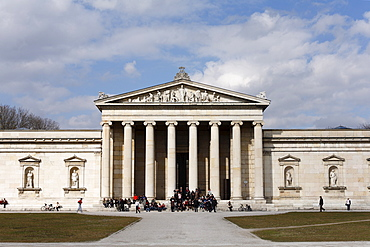 People standing on steps to the Glyptothek, Munich, Bavaria, Germany