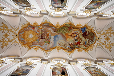 Ceiling frescoes, Kirche St. Peter, Alter Peter Church, Munich, Bavaria, Germany