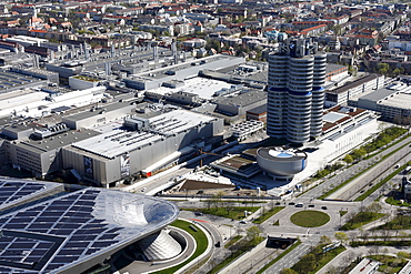 TV tower view over BMV World and the BMW building headquarters, Munich, Bavaria, Germany, Europe