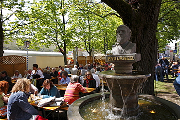 Beer garden at the Paulaner Fountain during Auer Dult market in May, Mariahilfplatz Square, Munich, Bavaria, Germany, Europe